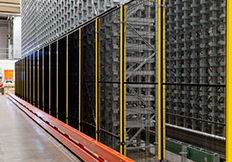 Troax steel mesh panels black and yellow posts automated warehouse industry 4.0