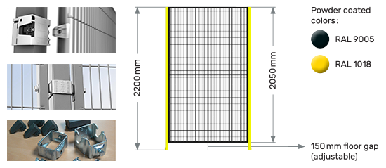 Troax steel black mesh panels yellow post rapid fix bracket Proax Technologies